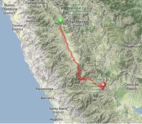Map - Huaraz to Oyon
