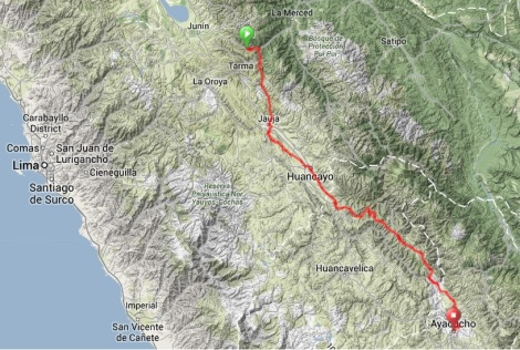 Map - Huasahuasi to Ayacucho