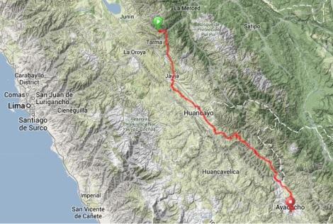 Map - Huasahuasi to Ayacucho