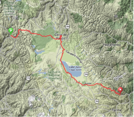 Map - Oyon to Huasahuasi