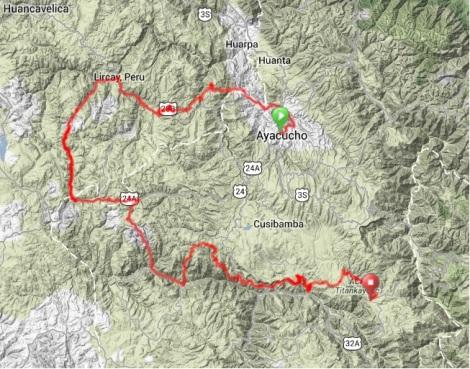Map - Lircay Horseshoe, Ayacucho to Vilcas Huaman