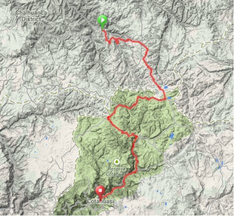 Map - Antabamba to Cotahuasi