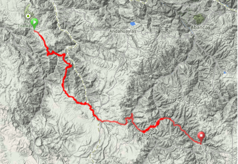Map - Vicas Huaman to Antabamba