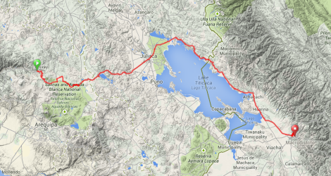 Map - Yanque to La Paz