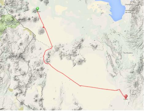 Map - Sabaya to Uyuni