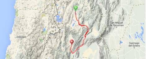 Antofagasta to Fiambala Route Map