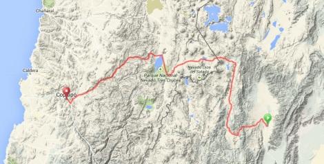 Fiambala to Copiapo Route