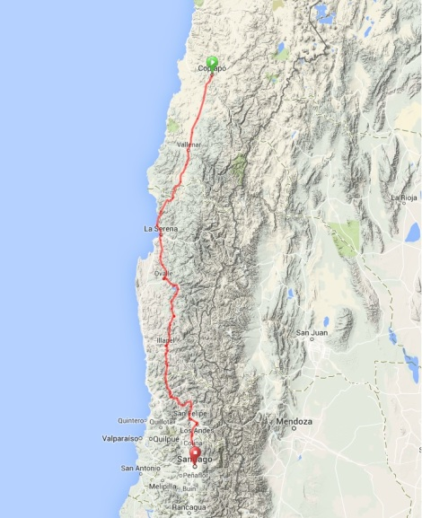 Map - Copiapo to Santiago