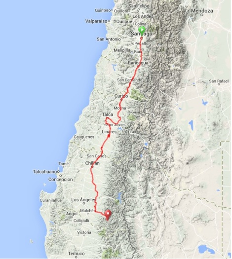 Map - Santiago to Ralco