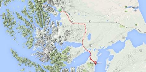 Puerto Natales to Punta Arenas Route