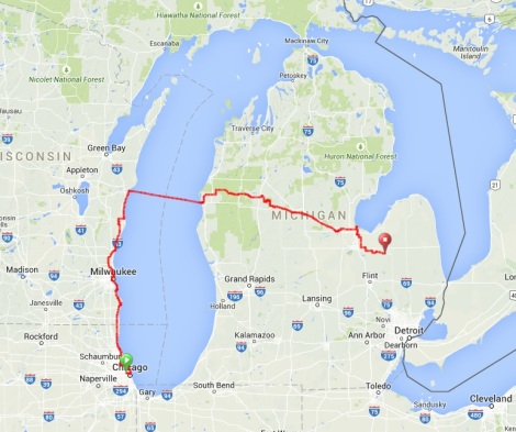 Chicago to Mayville Route